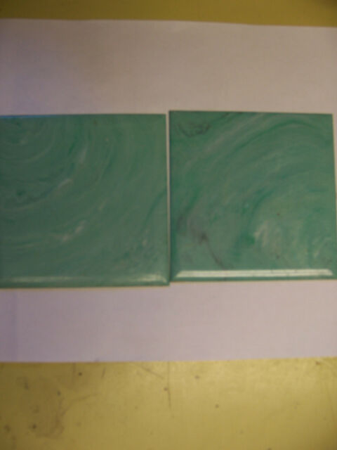 "BEVEL-RITE NOS NEW VINTAGE RETRO MARBLED AQUA GREEN PLASTIC 4-1//4"" WALL TILE"