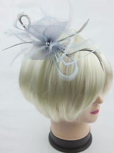 Image is loading Silver-grey-and-pale-blue-fascinator-on-a- 64ba721db34