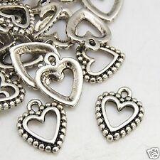10 Tibetan Silver Heart Pendant Charms 18mm x 14mm