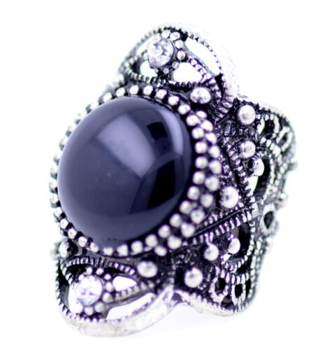UK Size O Vintage punk style antique silver and black coloured cutout ring