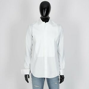 BRIONI-1375-Evening-Shirt-In-White-Cotton-With-Plastron-Jacquard-Embroidery