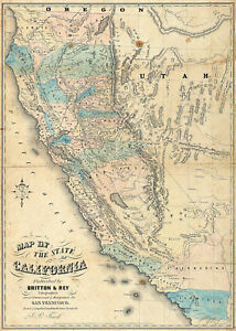 Details About 1853 California Gold Rush Map Geological Survey Mining Fields Mines Wall Poster