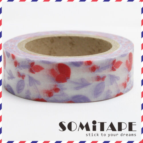 Craft Decorative Tape Purple and Red Flowers Washi Tape