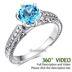 14K-White-Gold-Vintage-Wedding-Engagement-Ring-Swiss-Blue-Topaz-Natural-Diamond