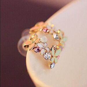 1 Pair Women Lady Elegant Crystal Rhinestone Flower Ear Stud Earrings Gift