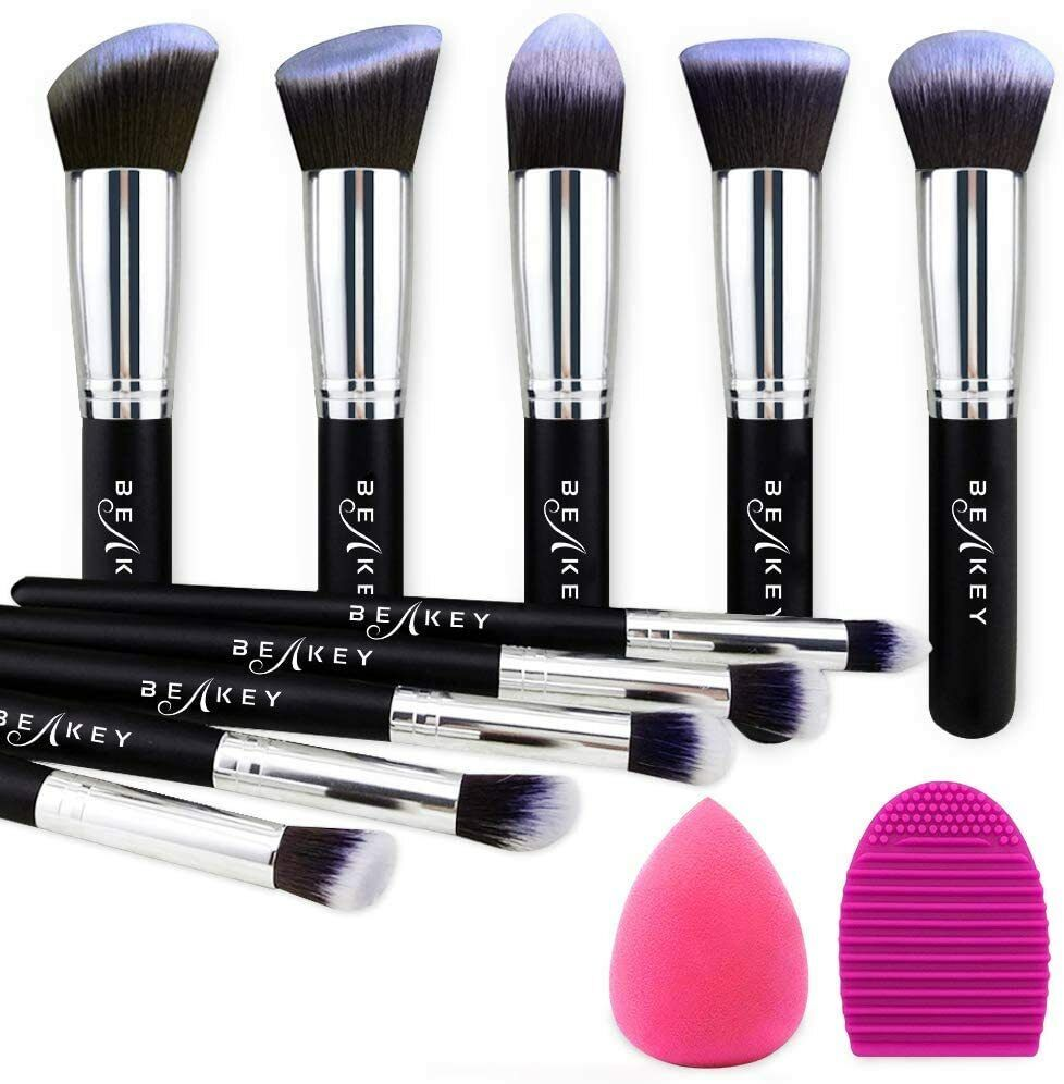 ✅ SET PENNELLI MAKE UP TRUCCO PROFESSIONALI CON SPUGNETTA + BRUSH POLVERE CREME