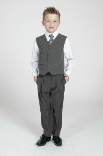 Boys Grey 5pc Tailcoat Morning Suit Grey Wedding Christening Pageboy formal