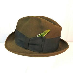 Vintage-Wormser-Royal-Luxury-Men-039-s-Size-7-Brown-Felt-Fedora-Hat