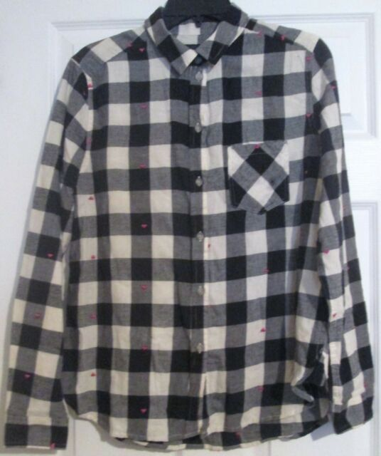 828cc537 American Eagle Outfitters NWT Boyfriend Shirt Collar Button Up Checker  Heart Med