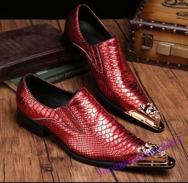Fashion Uomo Groom Metal Pointed Toe Wedding Dress Pelle Business Shoes  hot