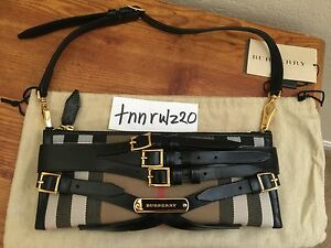 770147881932 Image is loading New-Authentic-Black-House-Check-Bridle-Buckles-BURBERRY-