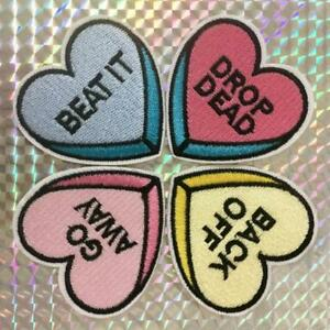 Set Of 4 Rude Heart Iron On Patch 2 Valentine Candy Back Off Go