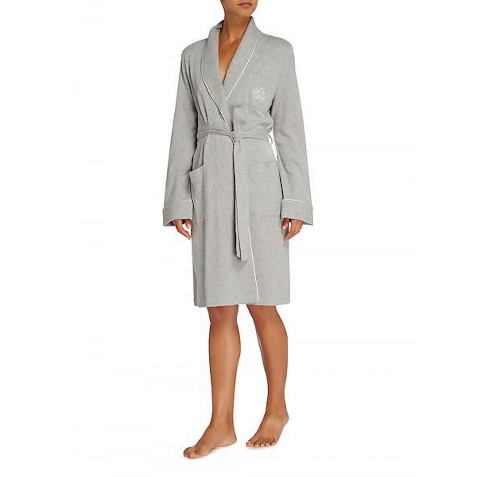 Lauren by Ralph Lauren Essentials 100% Cotton Quilted Collar Robe