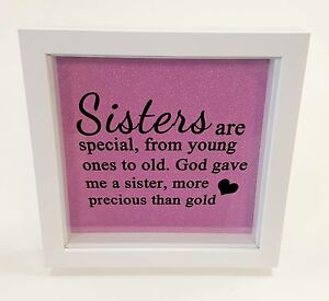 Boxed Framed Glitter Sisters Are Special Birthday Family Box Frame