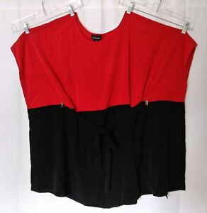 Lane-Bryant-plus-Size-18-20-Belted-Red-Black-Slimming-Tunic-Dress-Top-18W-20W