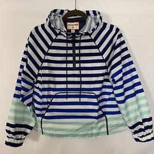 c89017c2e Details about Hunter for Target women's striped half zip hooded rain crop  jacket blue white
