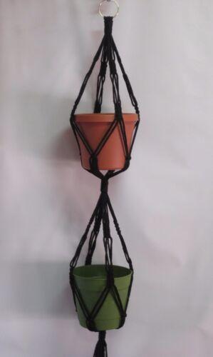MACRAME PLANT Hanger Vintage 2-TIER  BLACK 4mm Cord