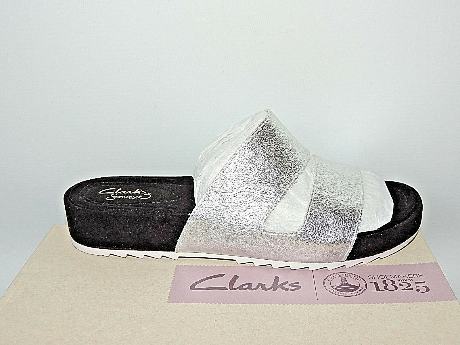 CLARKS 'ZELBY ZEST' SILVER LEATHER MULES UK SIZE 4.5D. BNIB