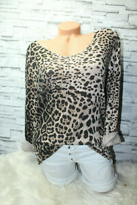 Italy-Pullover-Vintage-Gr-36-38-40-Shirt-Leopard-Leo-Shirt-Pulli-beige-blogger