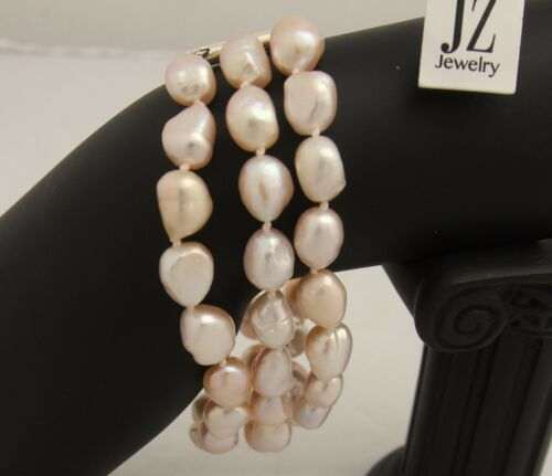 Details about  /Freshwater Peach 3 String Baroque Pearl Necklace,Bracelet S//S Clasps Earring Set