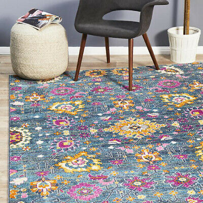 Carsten Blue Traditional Vintage Design Modern Floor Rug 4 Sizes New Ebay