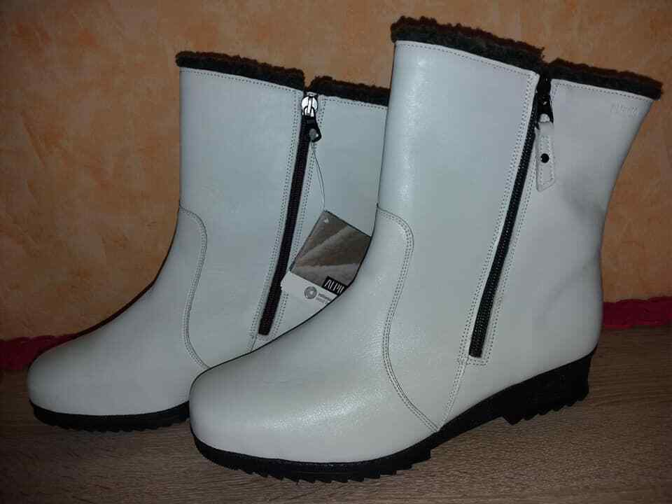 Designer Ankle Boot by Alpina NEW Size 42 in Wollweiss Warm Lining & Nappa Leather