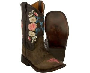 Girl's Kids Flower Embroidered Brown