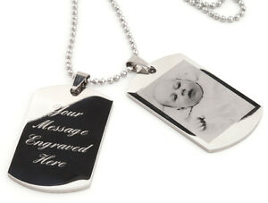 Personalised-men-039-s-ENGRAVED-double-dog-tags-text-amp-photo-engraving-Ref-DT2