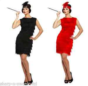 Ladies-Black-Red-1920s-Flapper-Gatsby-Fancy-Dress-Costume-Outfit-STD-amp-Plus-Size