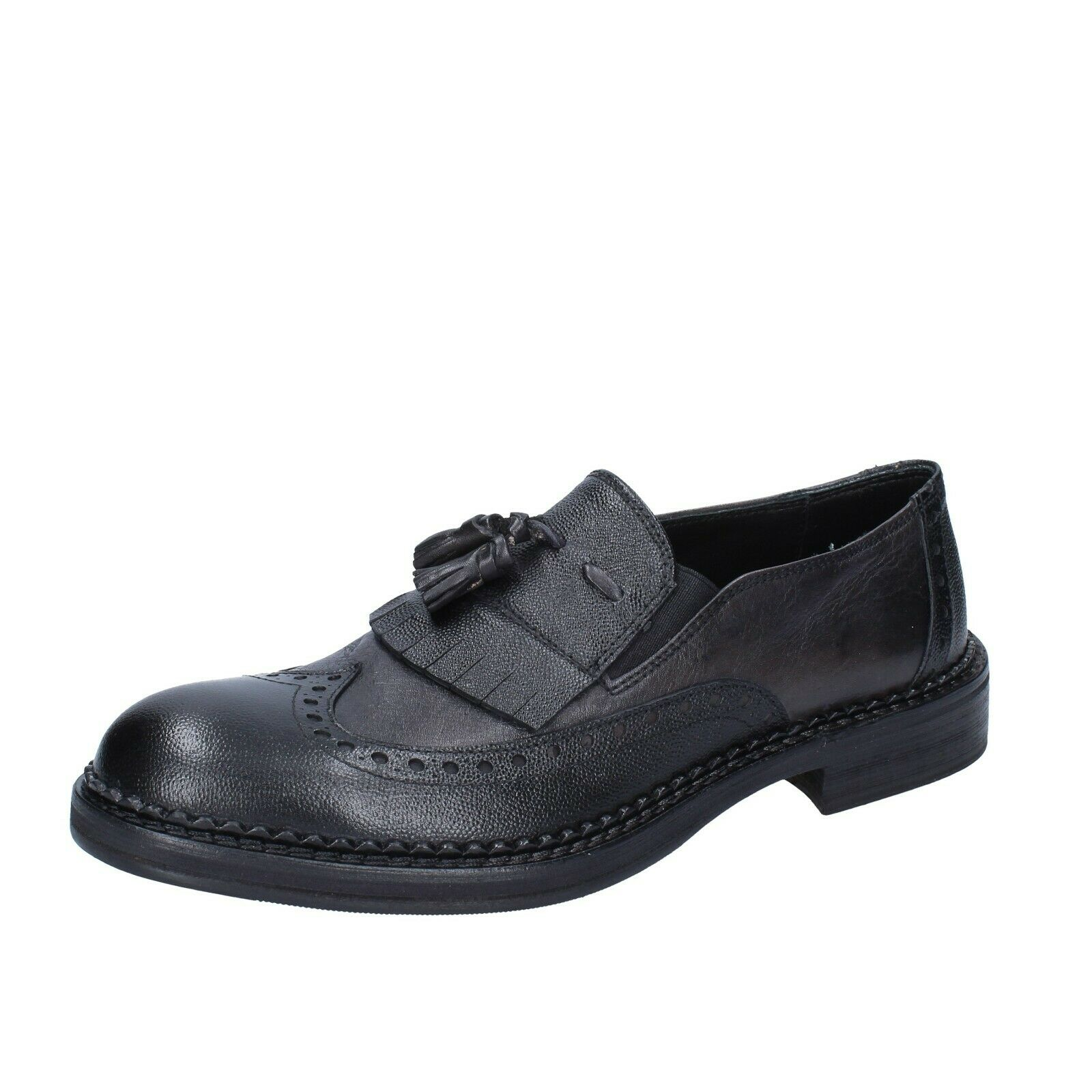 Mens shoes +2 PIU' DUE 9 () loafers grey leather BS758-43