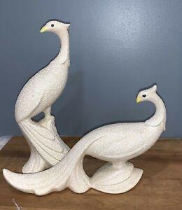 2 Vintage Peacock Or Pheasant? Ceramic White Speckled MCM Figurines Bird