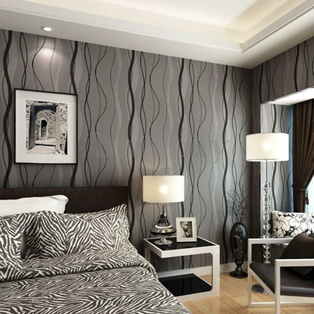 10m Modern 3d Non-woven Wallpaper Curve for Office Bedroom TV Wall ...