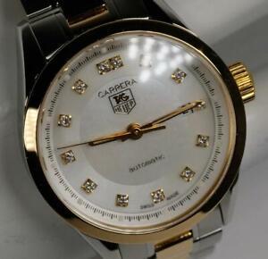 Ladies-Tag-Heuer-Carrera-SS-amp-18K-Gold-MOP-Diamond-Automatic-Watch-WV2450