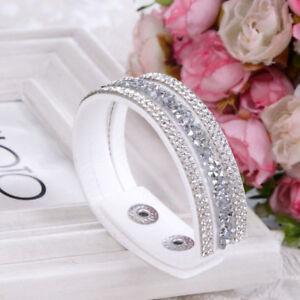 Damen-Wickelarmband-Strass-Armband-Slaker-Glitzer-Geschenk-Trendy-Bracelet-WOW