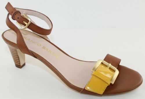 Franco Sarto Tarry Womens Caramel Yellow Leather Ankle Strap Heel Sandals Size 8
