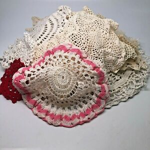Lot of 30 Vtg Crochet Lace Doilies Small to Large Assorted Shapes, Some Matching