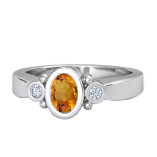 Details about  /Oval Cut Gemstone /& Simulated Engagement Ring 14K White Gold Finish