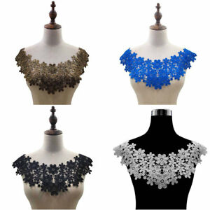 Floral-Lace-Embroidered-Neckline-Neck-Collar-Trim-Clothes-Sewing-Applique-Patch
