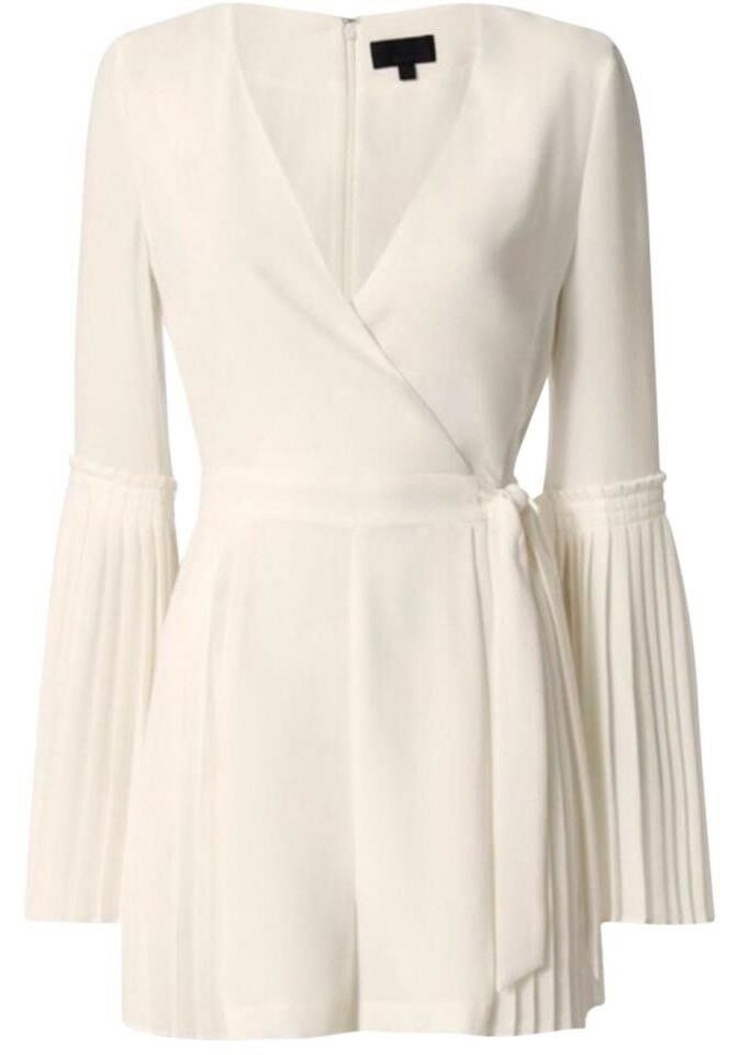 INTERMIX White Kingston Pleated Romper Women's (Small)