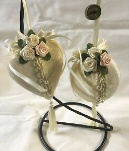 Kurt-S-Adler-Victorian-Style-Ornament-Set-Cream-Velvet-with-Lace-and-Pink-Roses