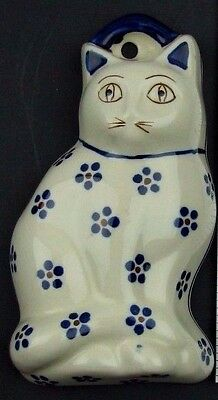 Boleslawiec Polish Pottery Cat Mold Wall Hanging Poland Figural Floral Dot
