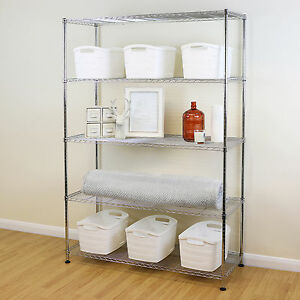 Image Is Loading 5 Tier Chrome Metal Storage Rack Shelving Wire