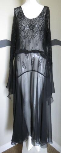 Vintage 1930s Dress Gown Silk Chiffon LRG SZ