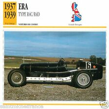 ERA TYPE  R4C/R4D 1937 1939 CAR  Great Britain GRANDE BRETAGNE CARTE CARD FICHE