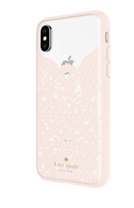 free shipping 77573 0cacd Details about Kate Spade Lace Cage Case for iPhone X Lace Humming Bird  Blush/Clear New