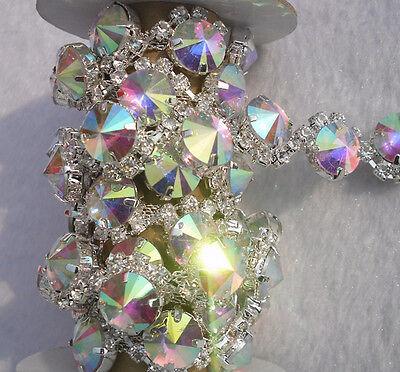 Clear AB 12mm glass rhinestone close silver chain claw cup trim Applique 1Yard S