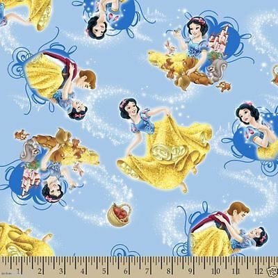 Disney Snow White and Friends Toss 100% cotton  Fabric Remnant 27""