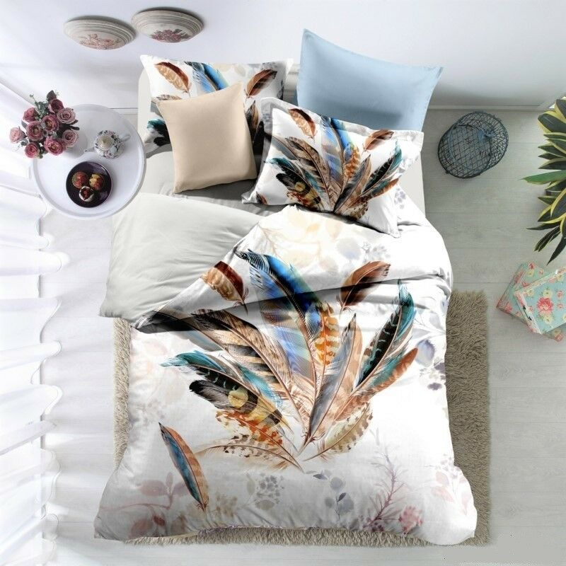 3D Feather Print Printed Twin Full Queen Size Polyester Duvet Comforter Set