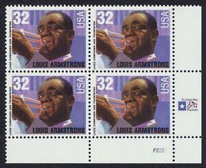#2982 32c Louis Armstrong, Placa Bloque [P2222 LR ] Nuevo Cualquier 4=