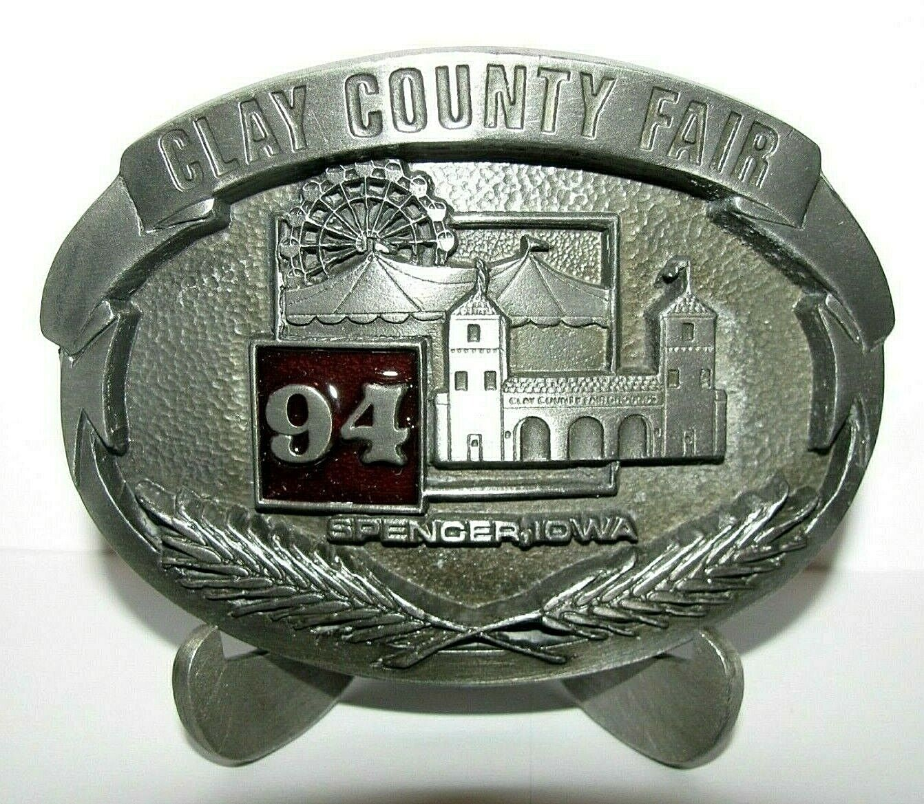 Clay County Fair Spencer Iowa 1994 Pewter Belt Buckle Limited Ed Entertainment